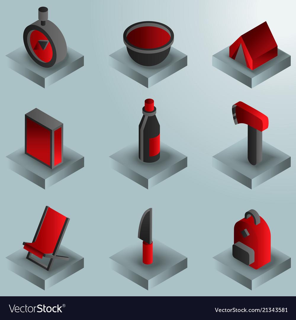 Survival kit color gradient isometric icons