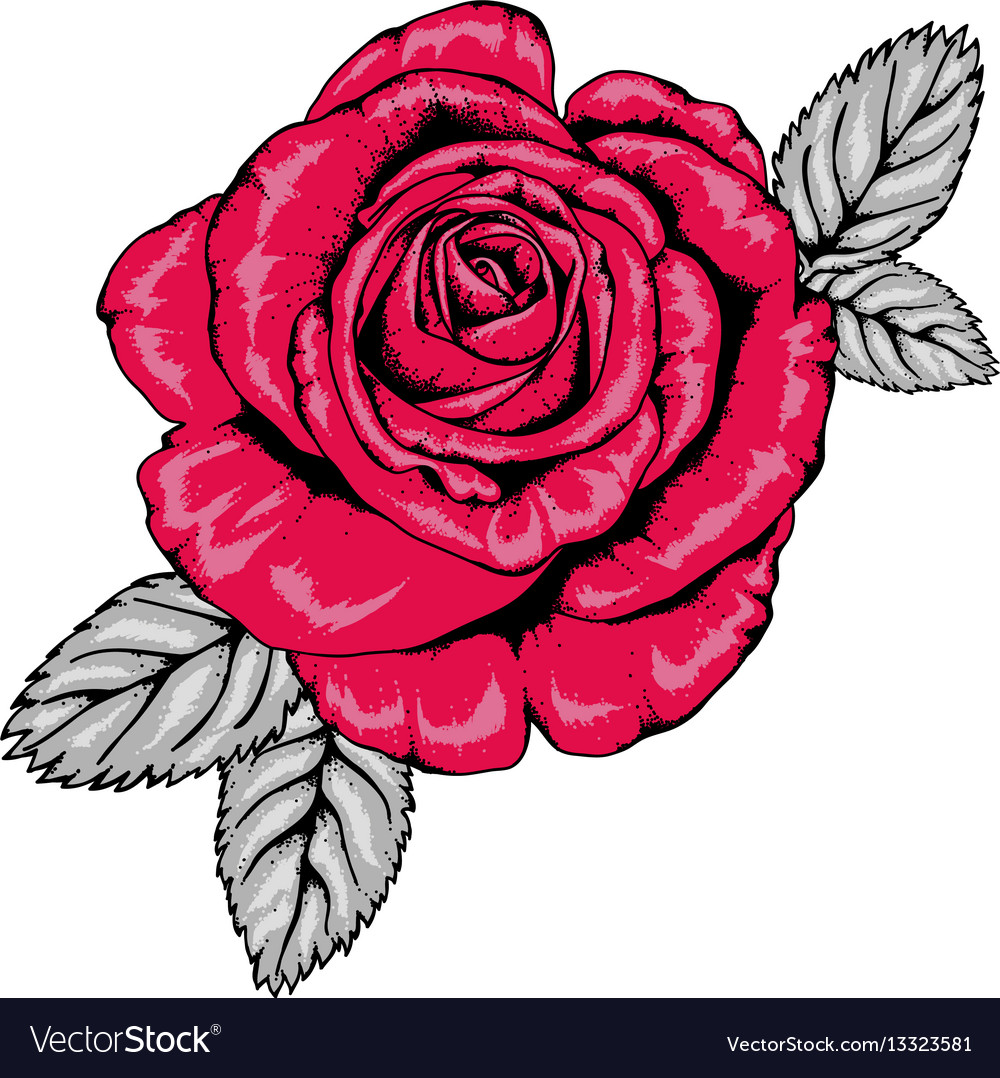 Tattoo Style Red Rose With Black Outlines V3