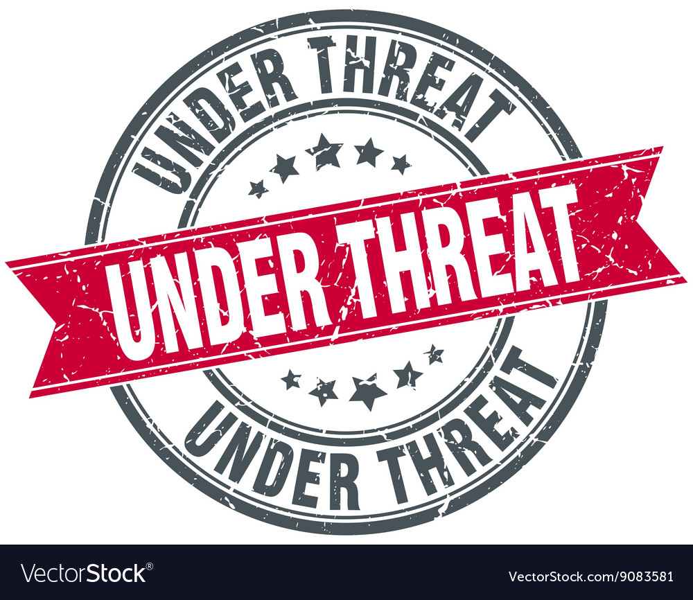 Under threat red round grunge vintage ribbon stamp vector image