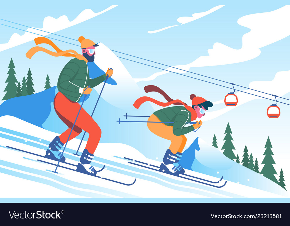 Young man father with beard skiing with his son in