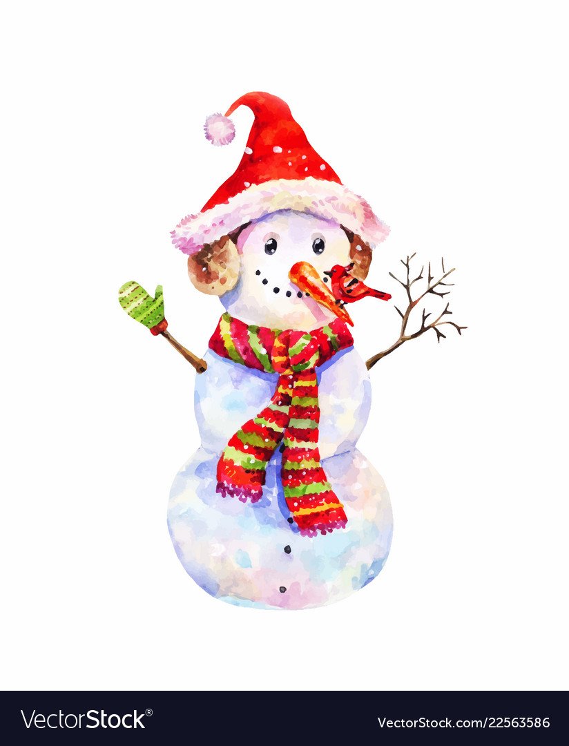 44e19464b37 Funny snowman in christmas hat and red-green Vector Image