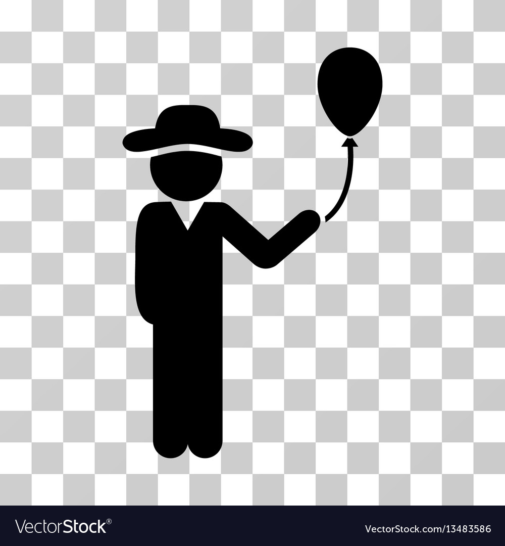 Gentleman with balloon icon