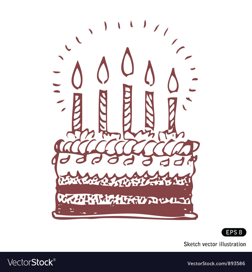 Happy birthday cake Royalty Free Vector Image VectorStock