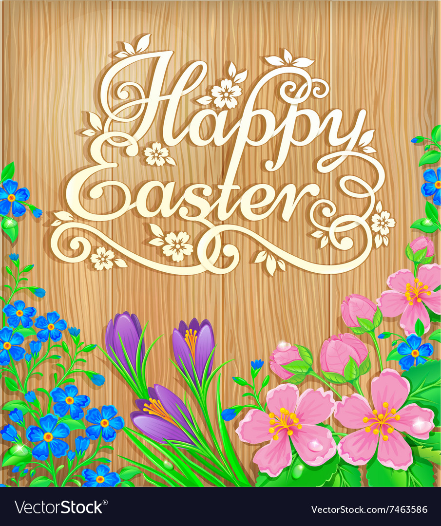 Happy Easter flowers wooden banner