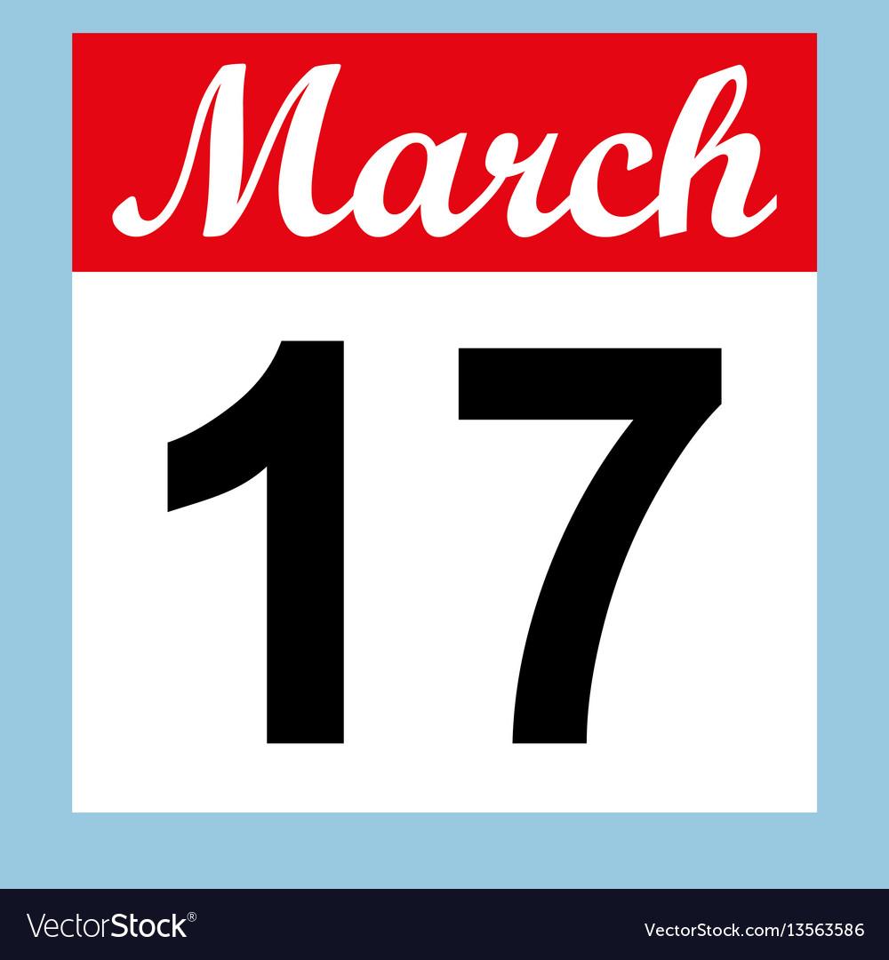 March 17 st patrick s day on a calendar