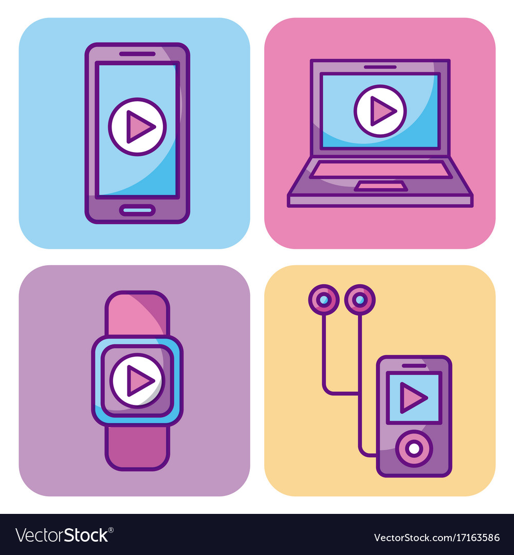 Multimedia set icons technology network and