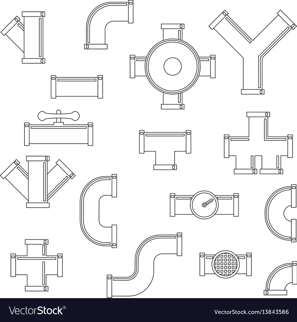 Pipeline icons set outline style