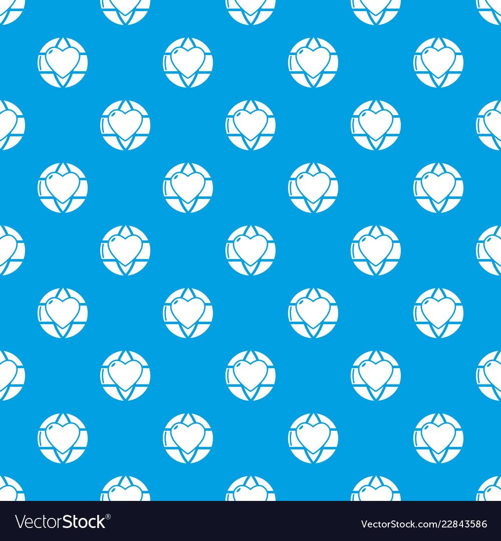 Planet heart pattern seamless blue