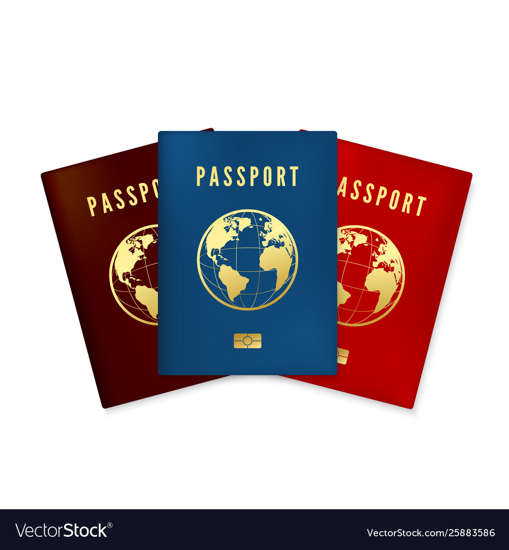 Set biometric blue brown and red passports