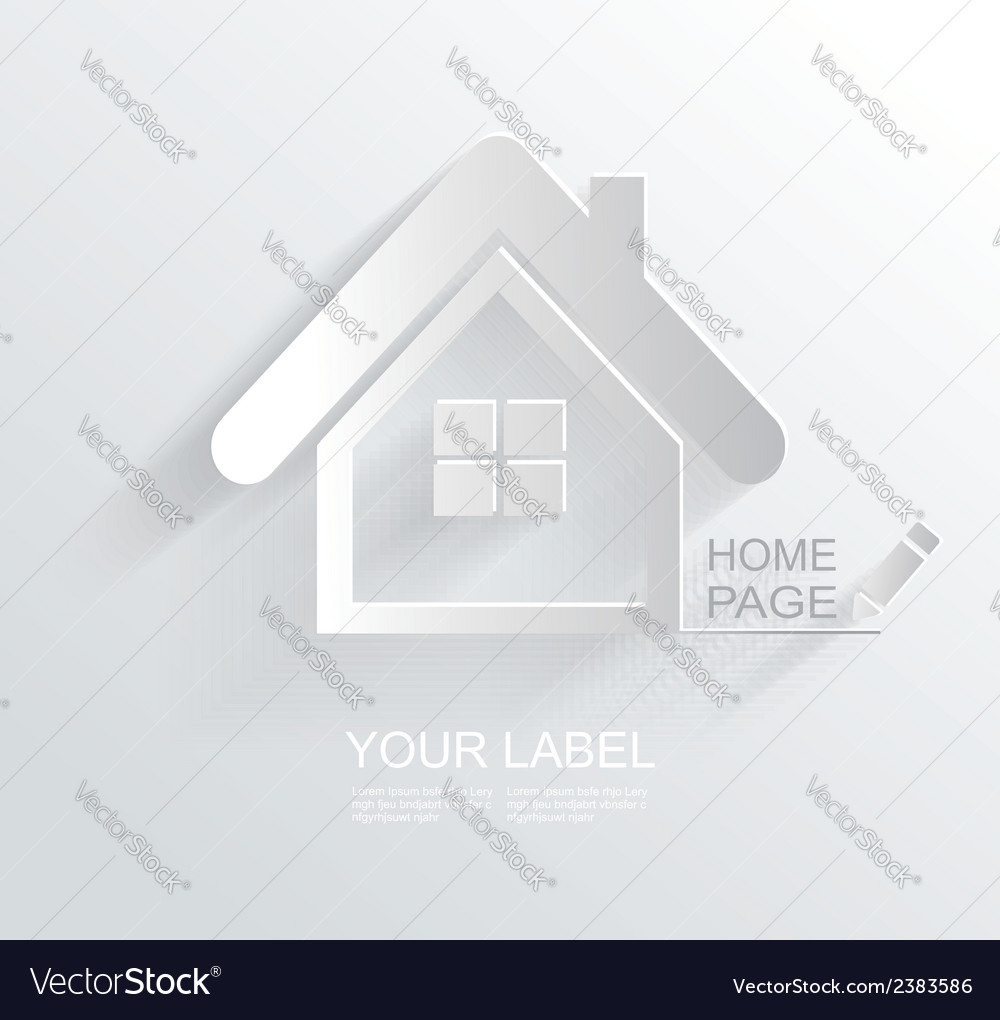White paper origami home icon