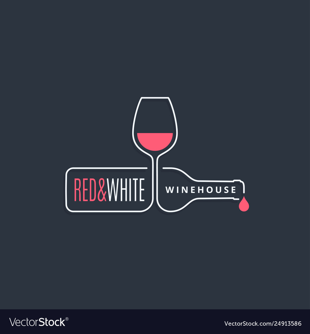 Wine bottle with wine glass line icon on black