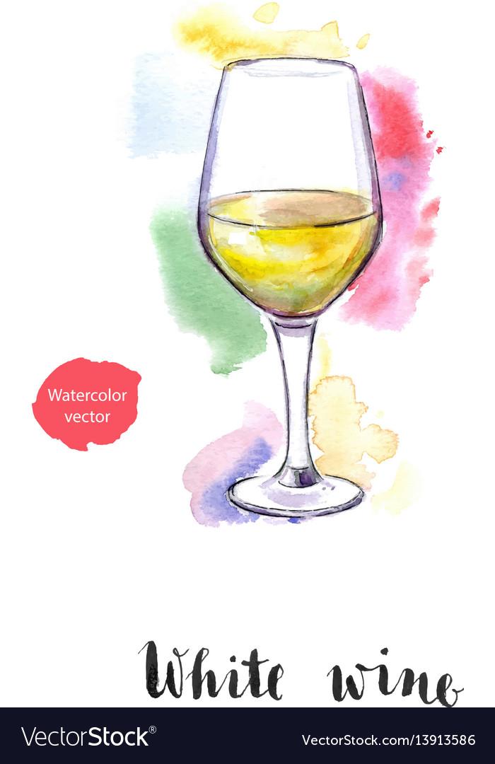 Wineglass of white wine vector image