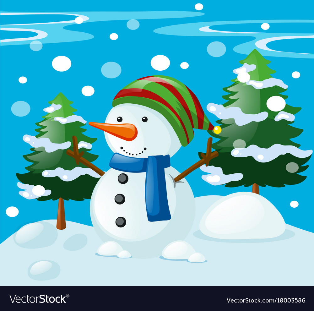Winter scene with snowman in the field Royalty Free Vector
