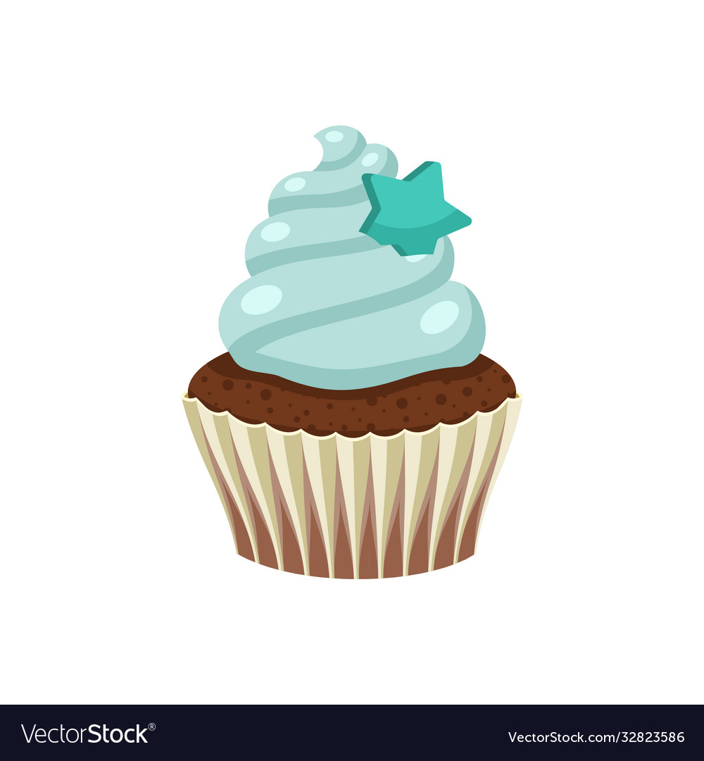 Yummy sweet cupcake with cream color