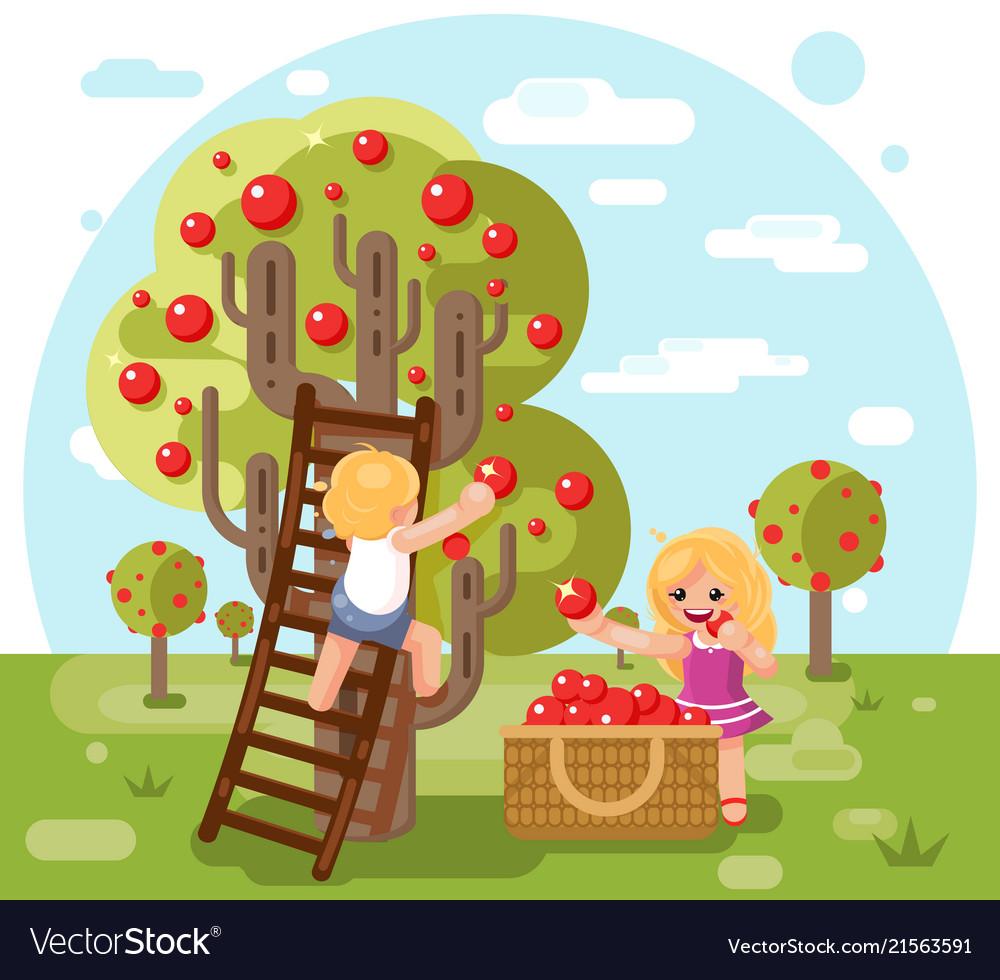 Autumn happy children boy girl harvest apples crop