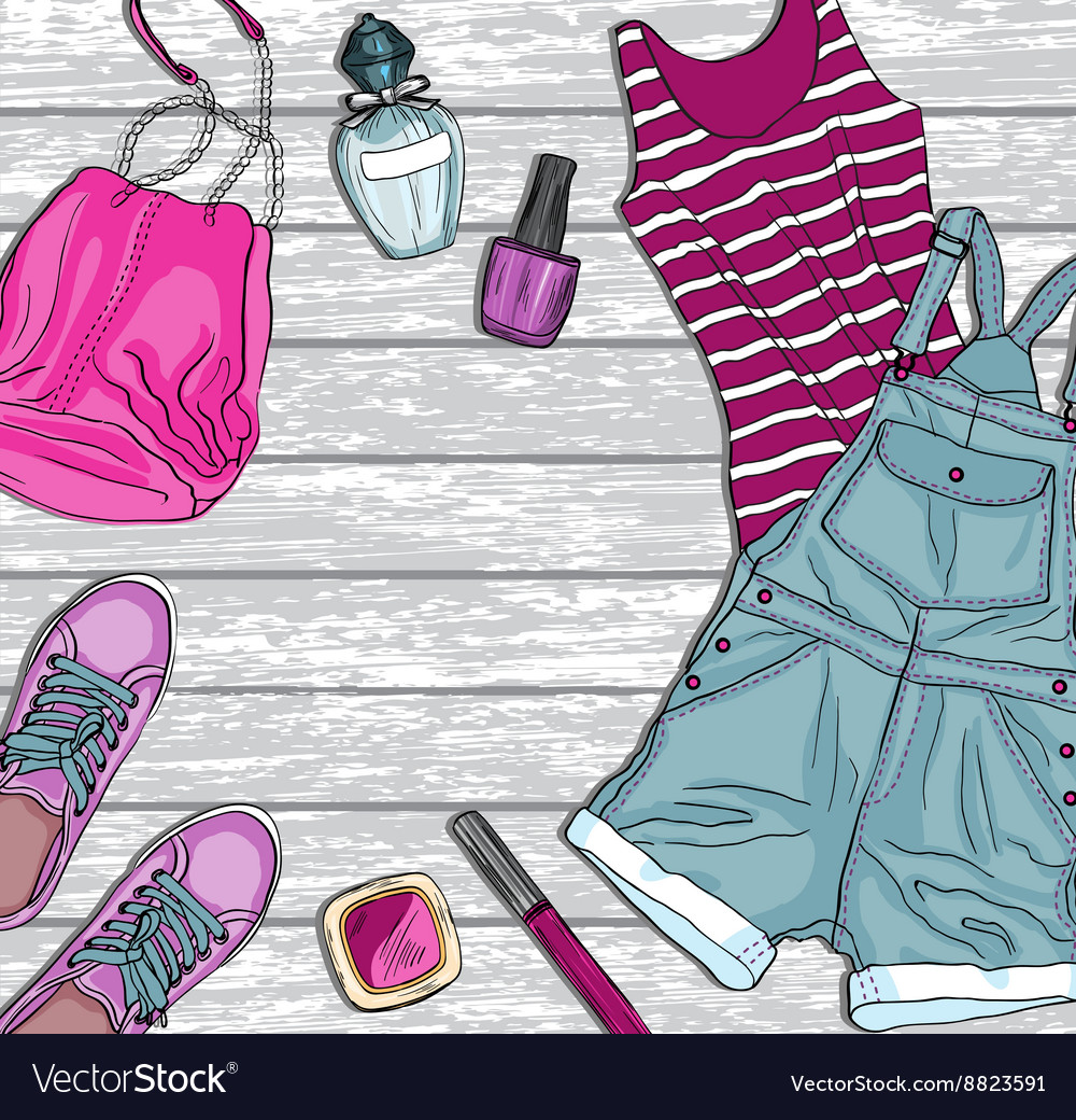 Background with female fashion clothes