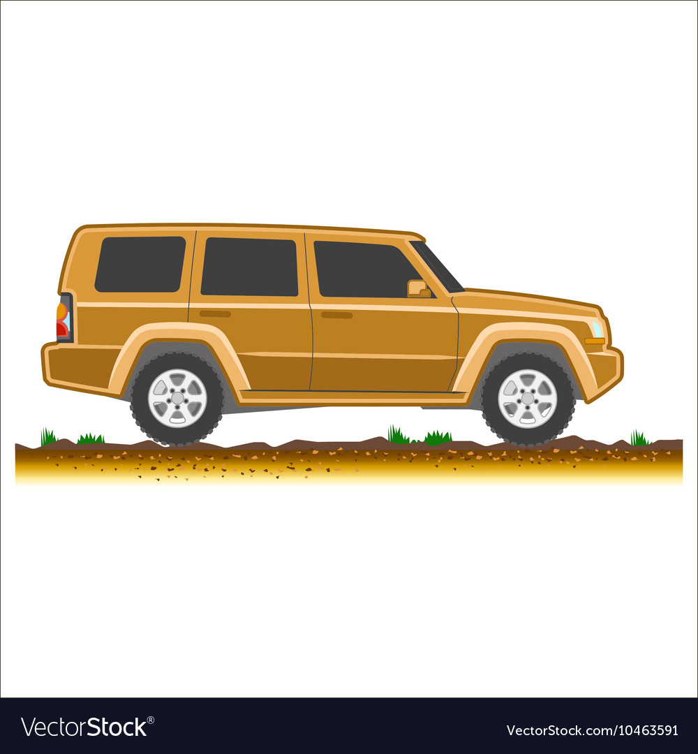 Brown suv car off-road 4x4 icon colored