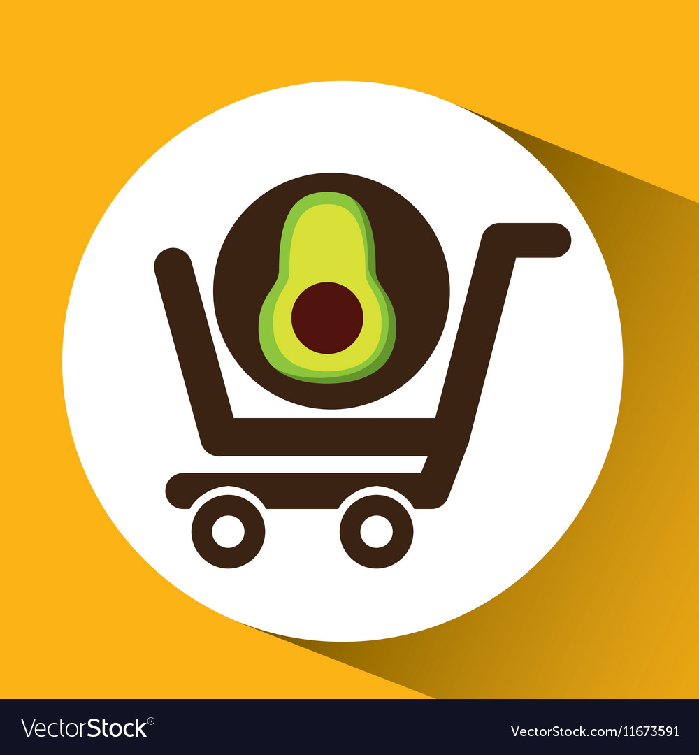 Cart buy avocado food vector image