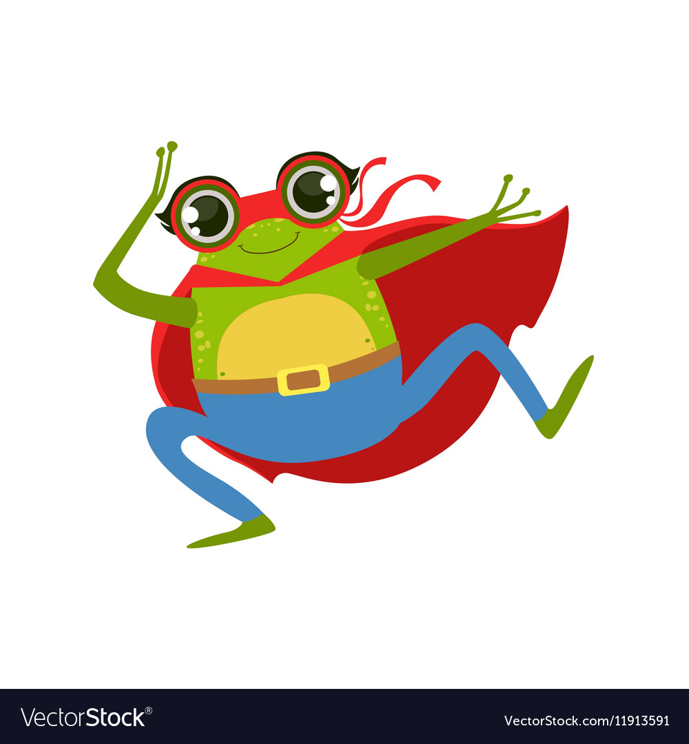 Frog Animal Dressed As Superhero With A Cape Comic
