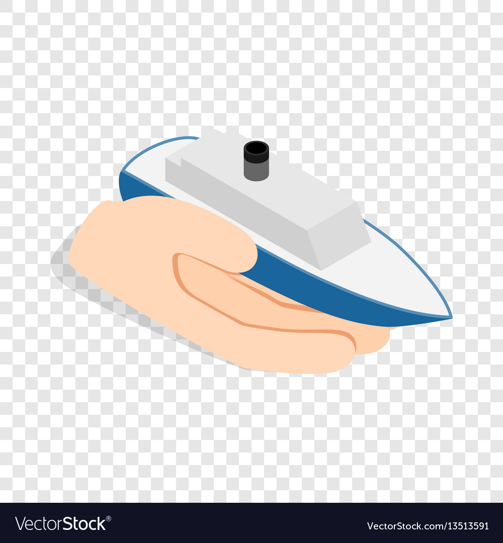 Hand holds ship isometric icon