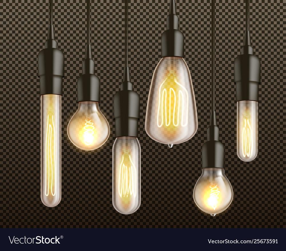 Incandescent light bulbs realistic set