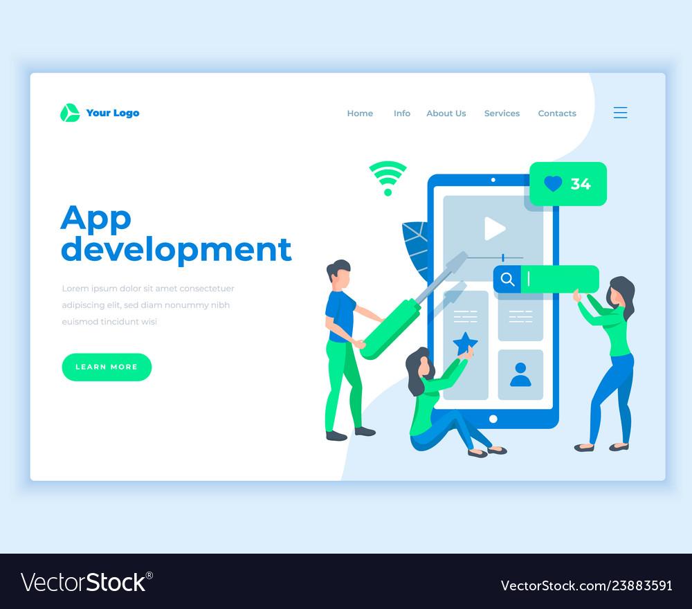 Landing page template application development