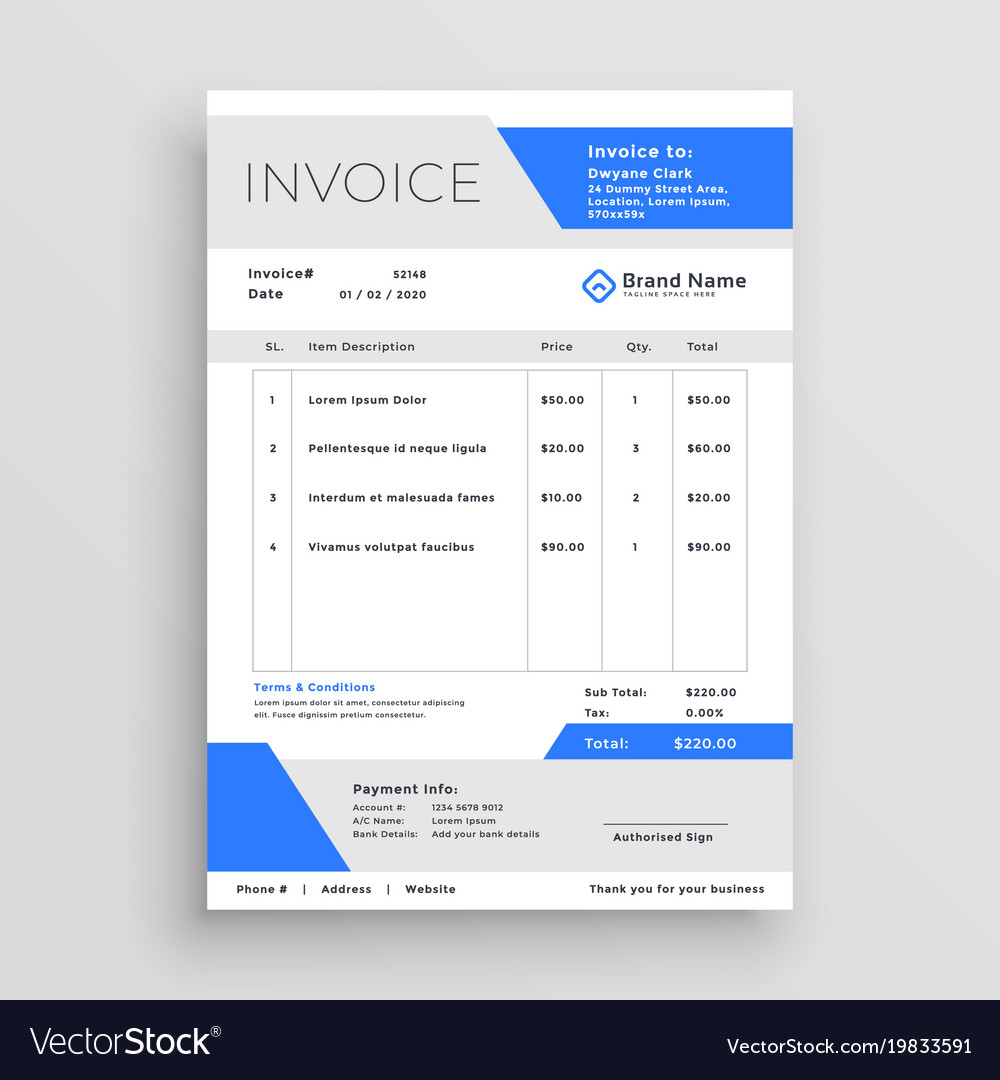 Modern Business Invoice Template Design Royalty Free Vector