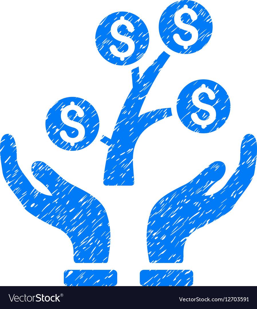 Money Tree Care Hands Grainy Texture Icon