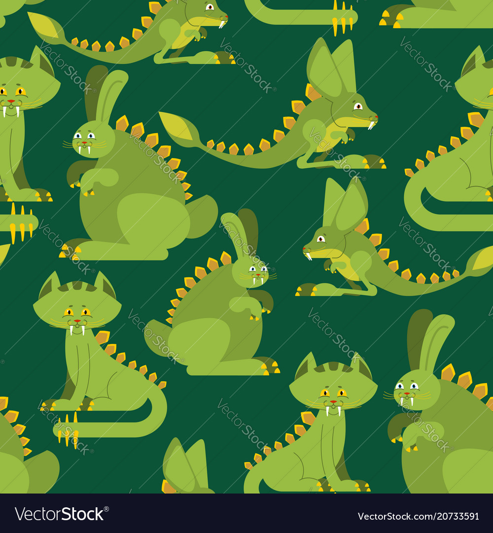 Prehistoric rabbit dinosaur seamless pattern dino vector image