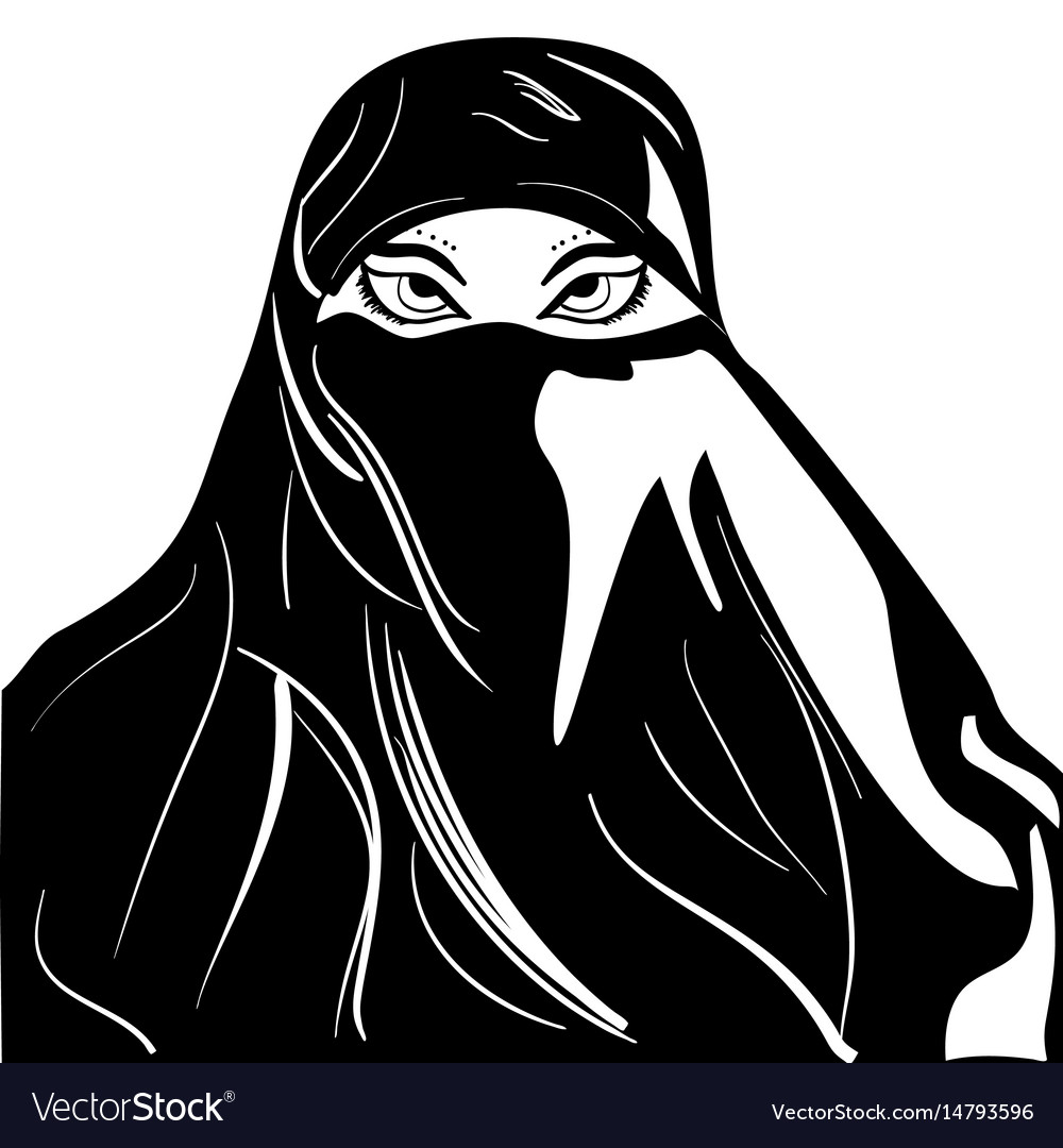 Beautiful arabic muslim woman outline style