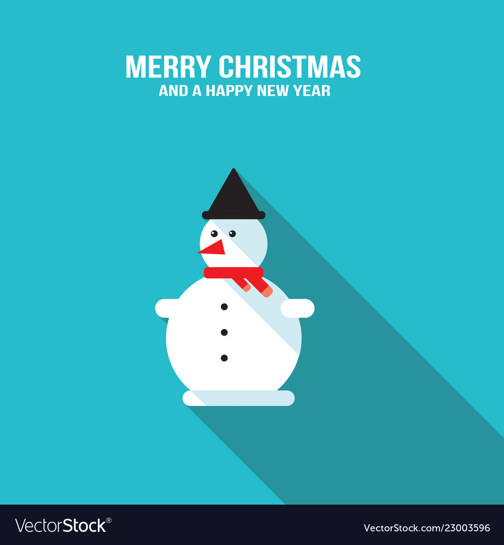 Cute snowman merry christmas and happy new year