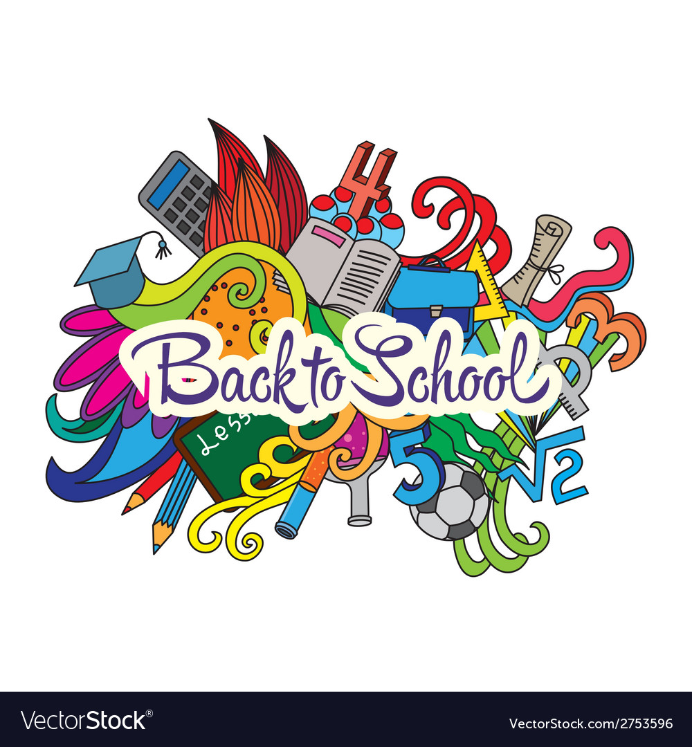 Decorative doodles design card Back to school