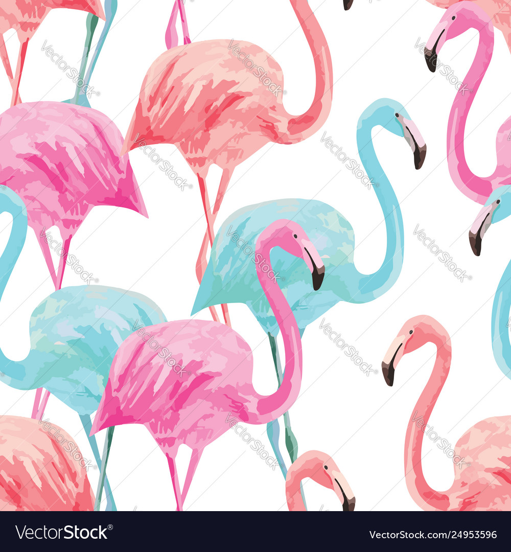 Flamingo pink and blue watercolor seamless