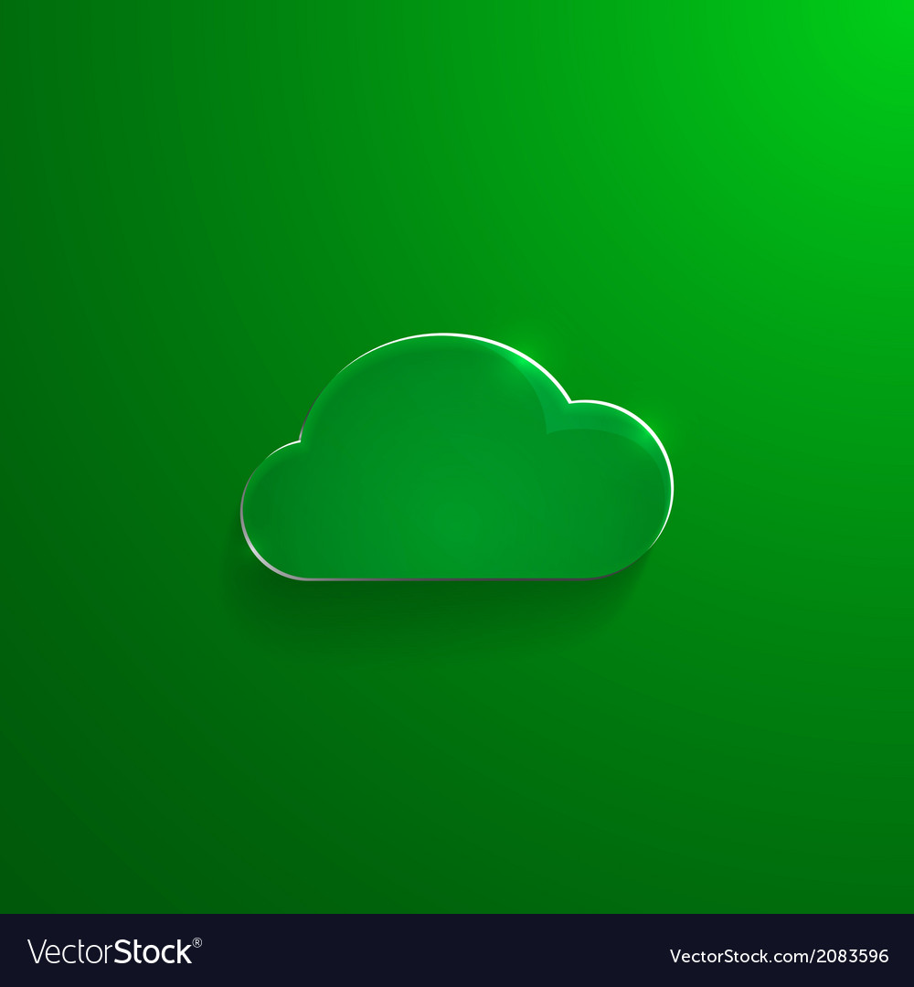 Green eco glossy glass cloud icon