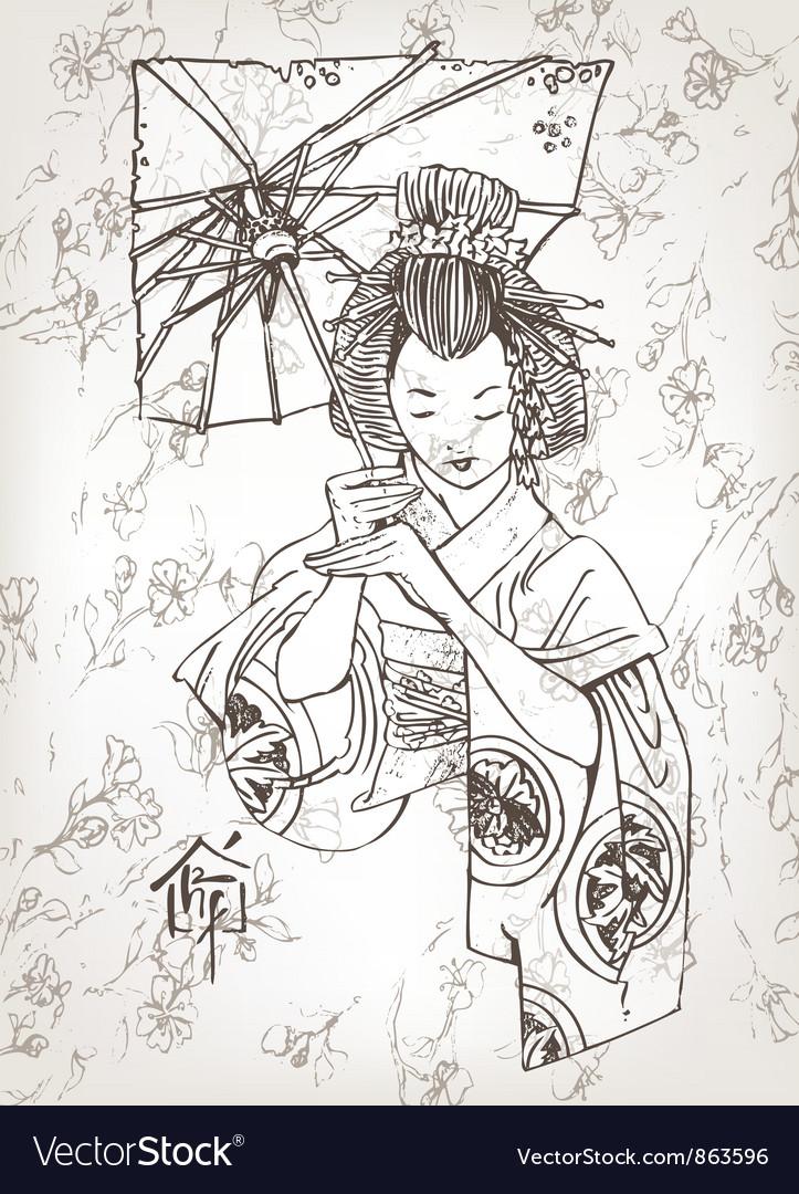 Hand drawn geisha vector image