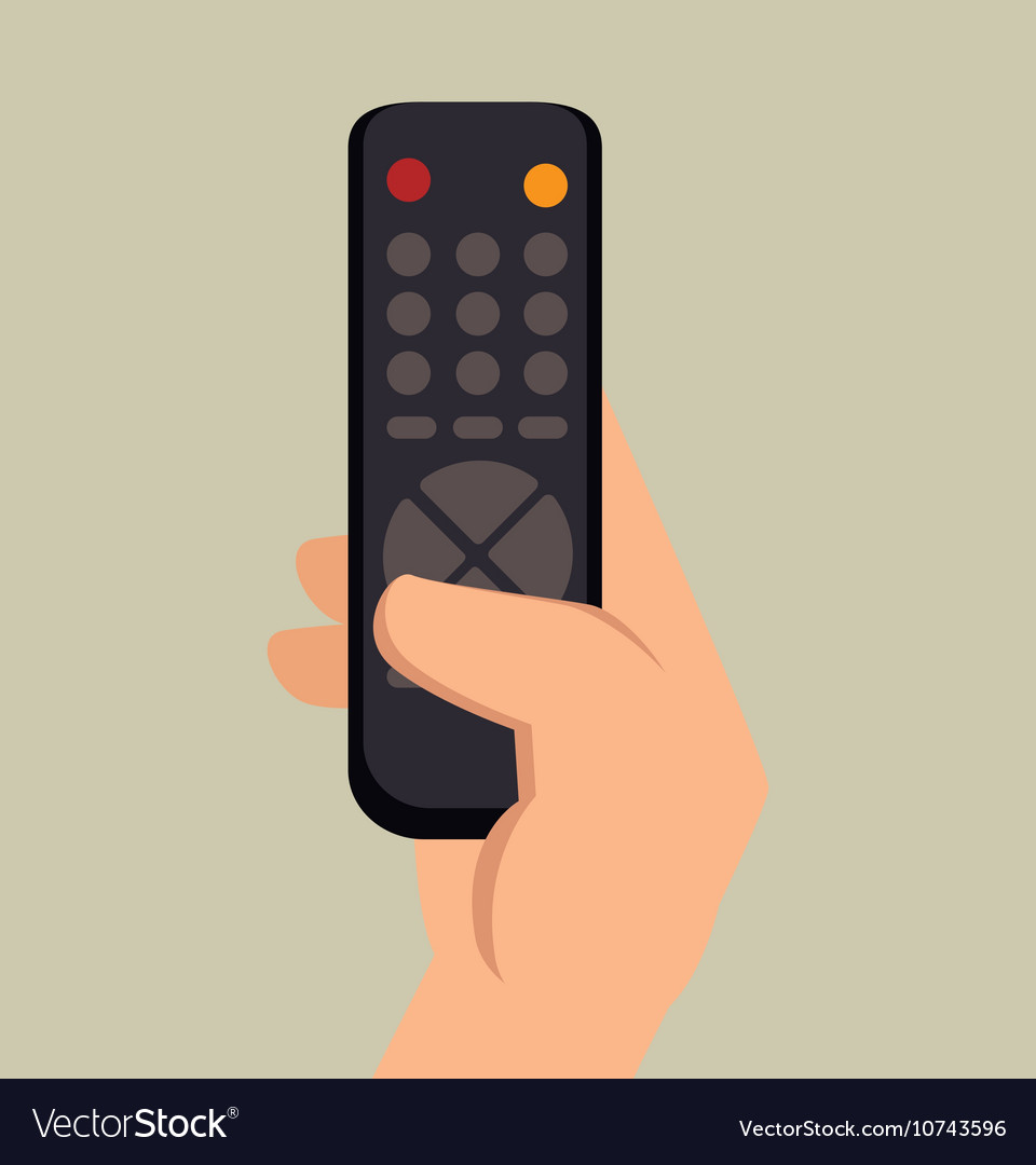 Hand hold control tv graphic vector image