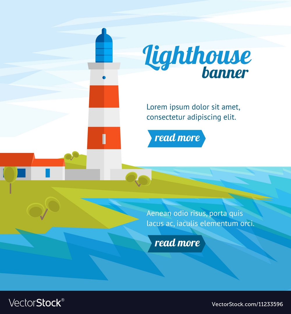 Lighthouse Banner Flat Design Style vector image
