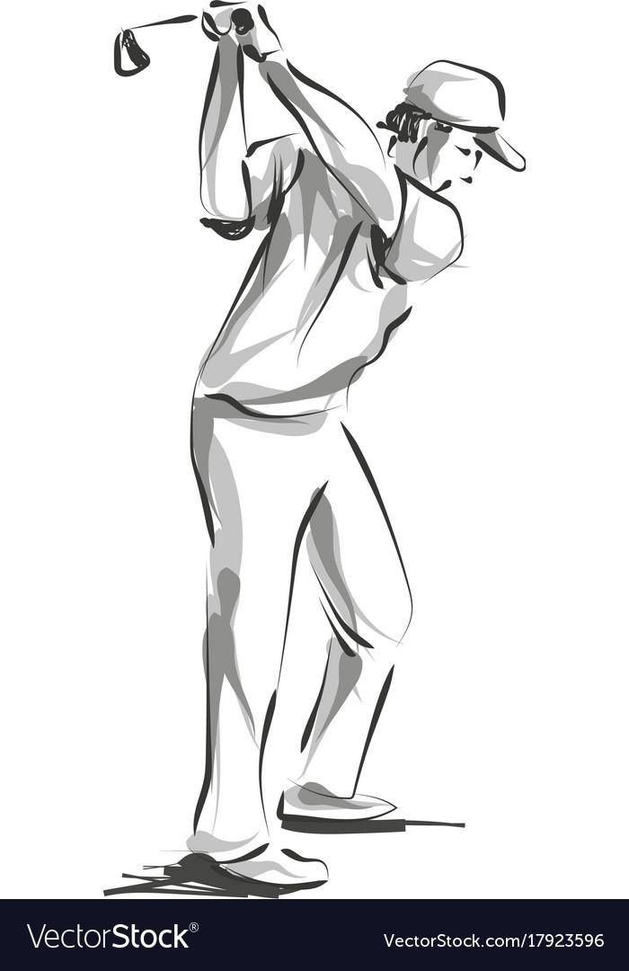 Line sketch golfer