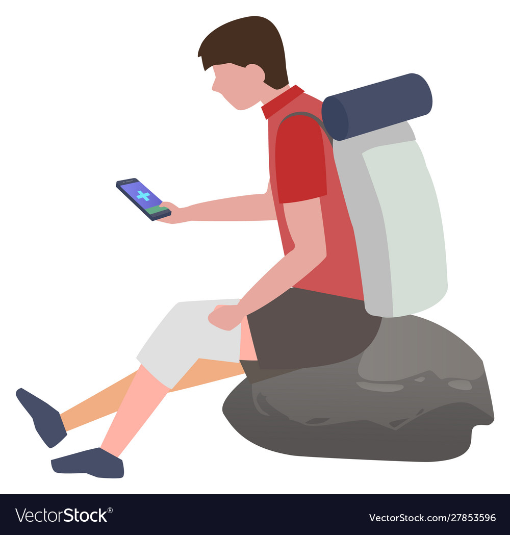 Man with injured knee using phone to connect doc