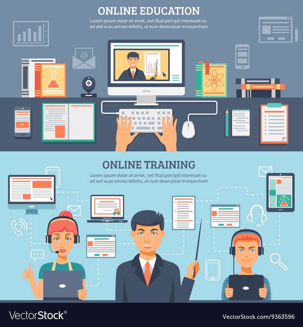 Online Education Training Banner Set vector image