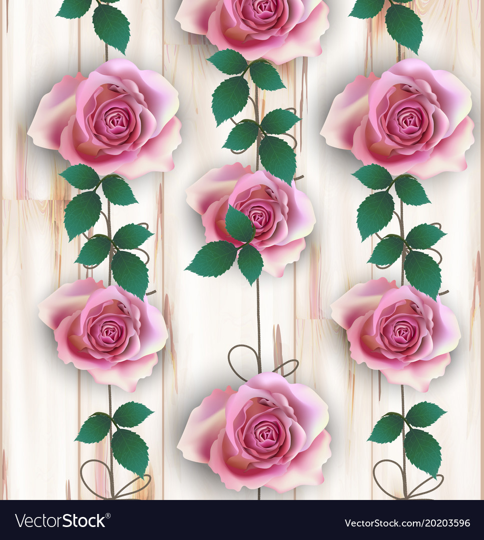 Roses realistic on wood background
