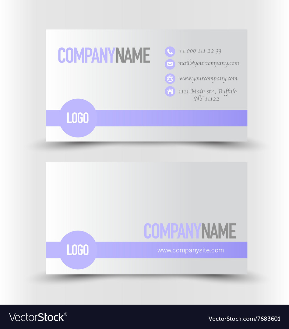 Business Card Set Template Purple And Silver Grey Vector Image
