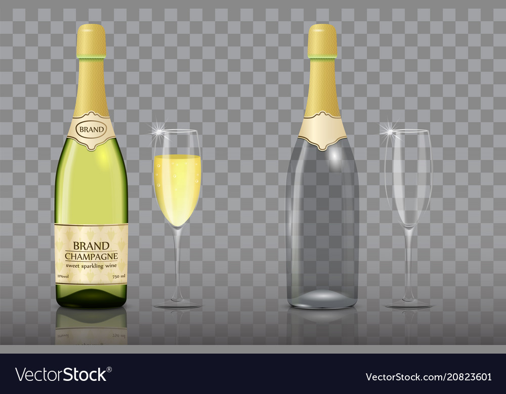 Champagne bottle with wine glass mockup set