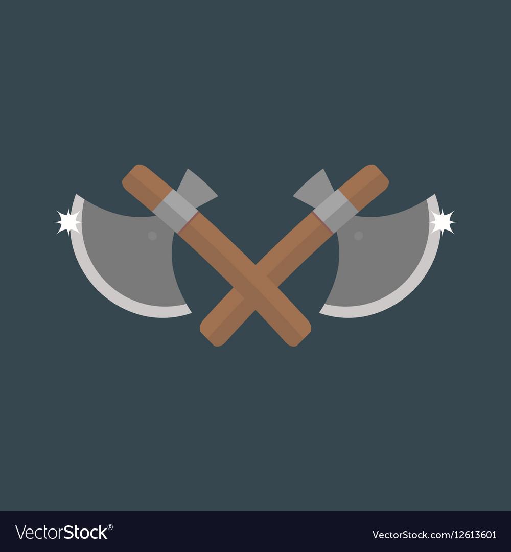 Cross axe weapon isolated