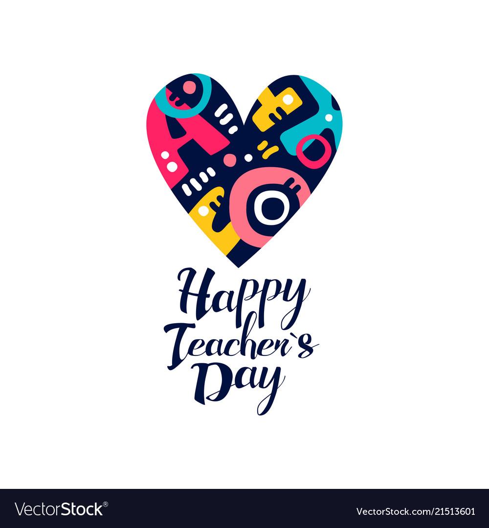 Happy teachers day logo creative template for