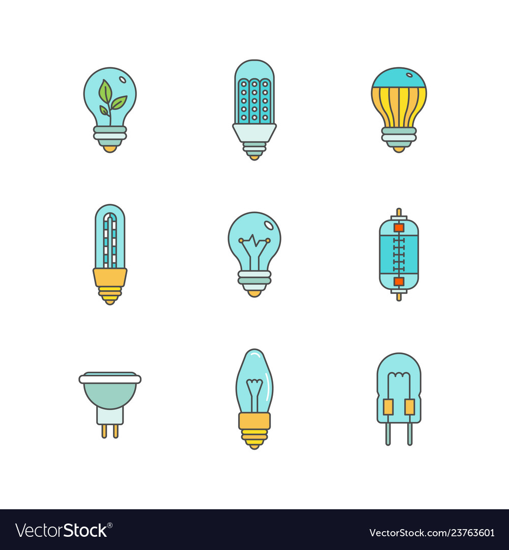 Light bulbs iconset in minimal lineart flat style