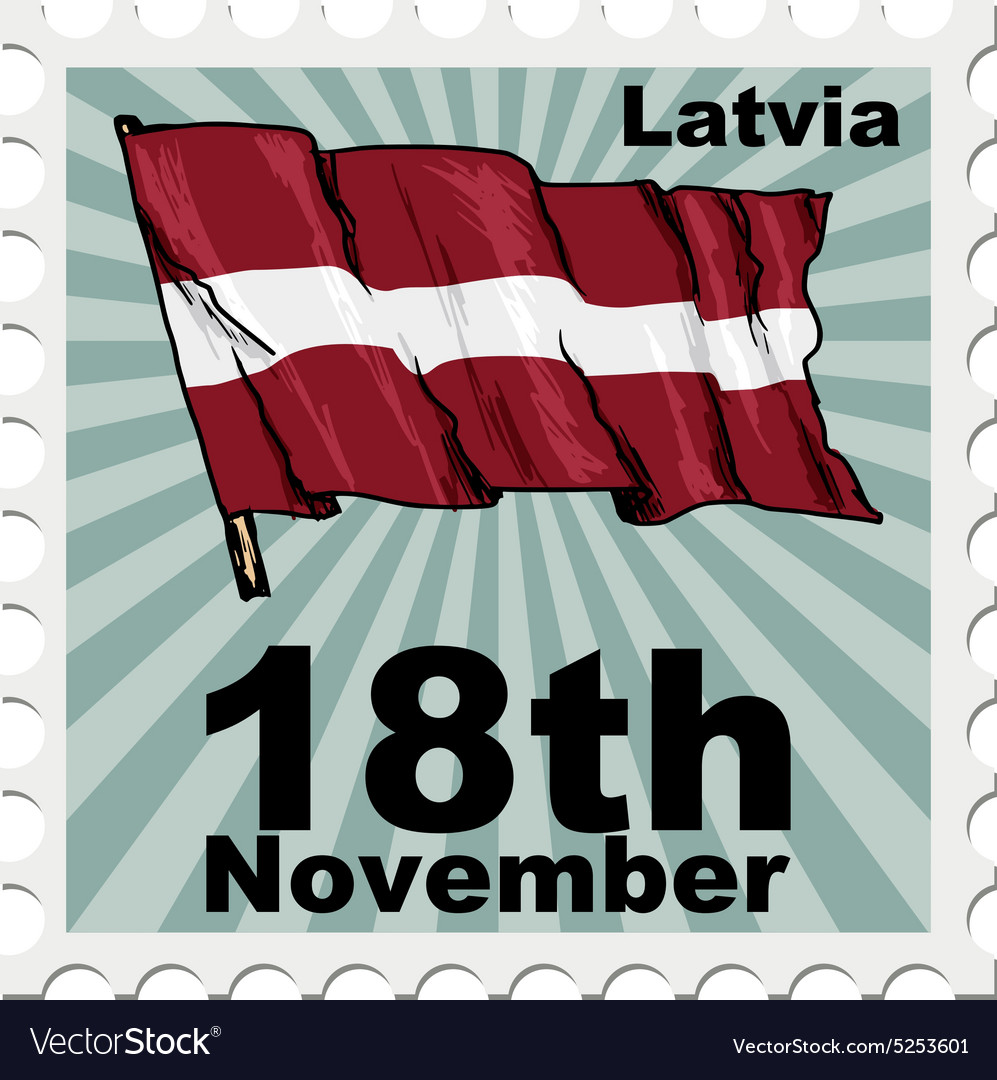 Post stamp of national day of Latvia