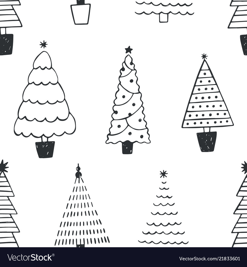 Seamless pattern with different christmas trees or
