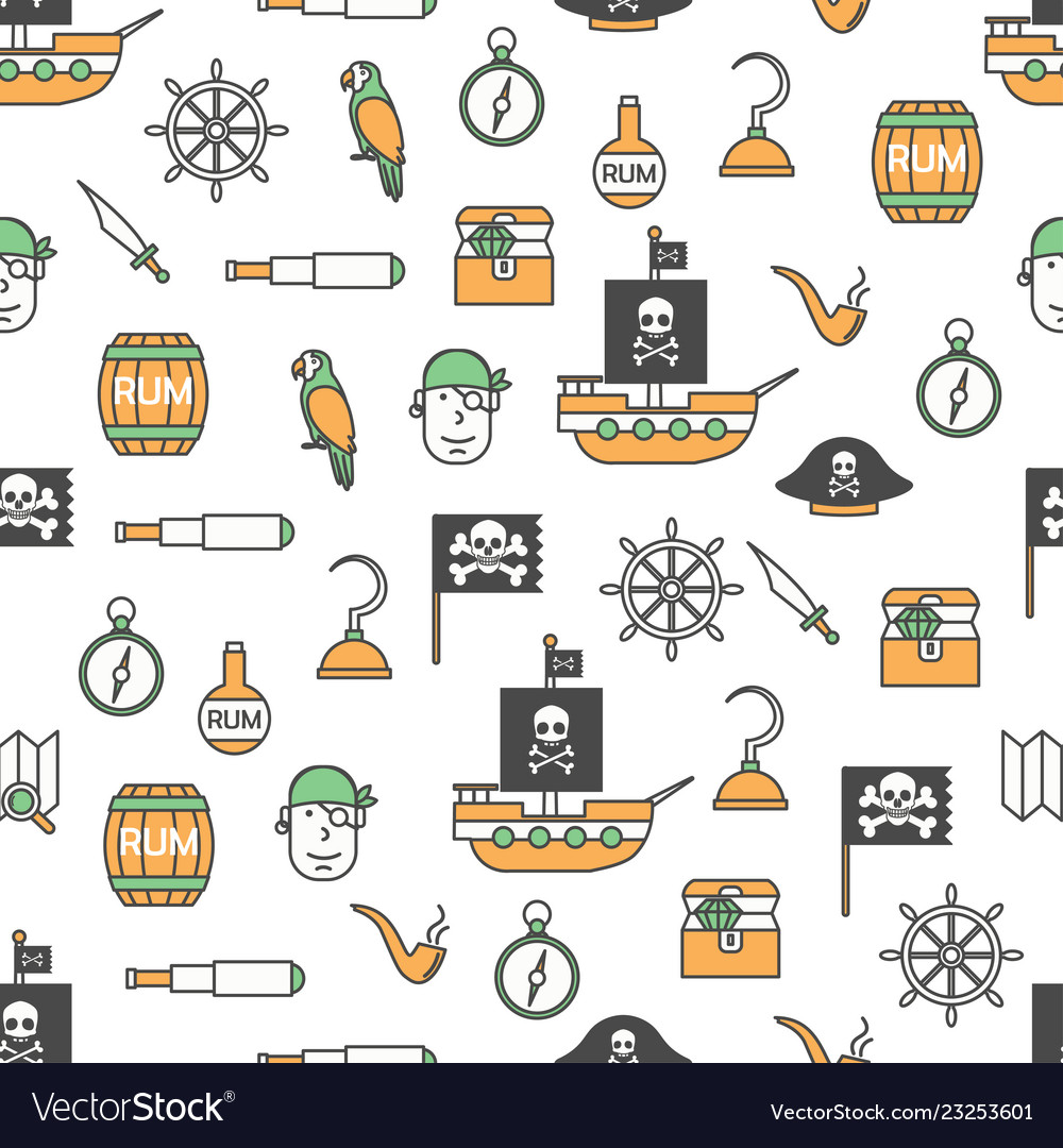 Thin line art pirates seamless pattern