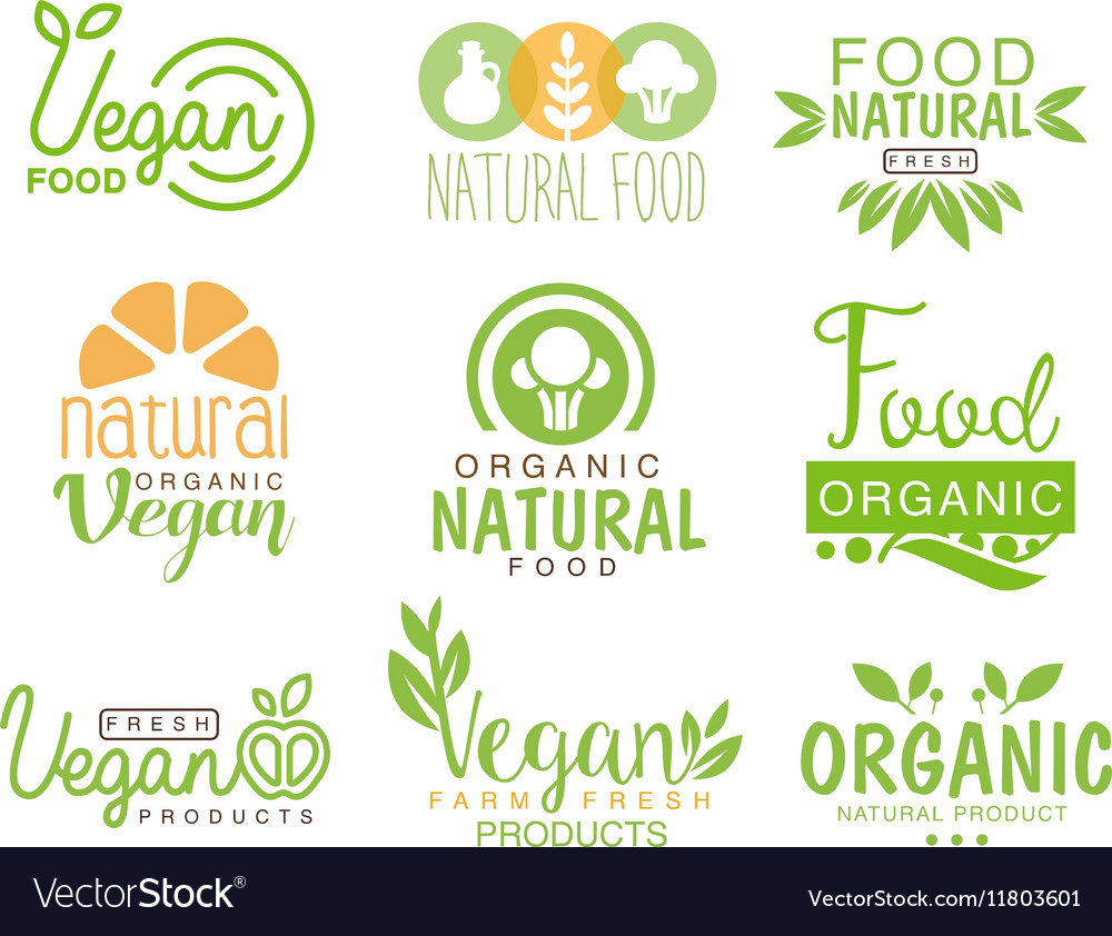 vegan natural food set of template cafe logo signs